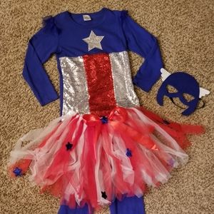 Girls boutique captain America costume size 7-10